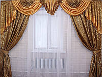 Комплект ламбрекен  со шторами на карниз 3м. №74, цвет коричневый 074лш036