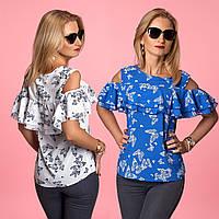 Летняя блузка с двойной оборкой на плечах без рукавов