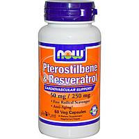 Now Foods, Птеростильбен и ресвератрол, 50 мг / 250 мг, 60 капсул
