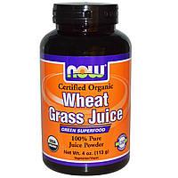 Now Foods, Organic, сок ростков пшеницы, 100 % чистый сок в порошке  (113 г)