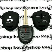 Чехол (черный, силиконовый) для авто ключа Mitsubishi (Митсубиси) 3 кнопки