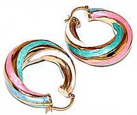 Серьги XР, позолота с эмалью разных цветов. Высота: 5 см. Ширина 12 мм.Толщина: 12 мм