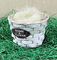 Кашпо декоративное для цветов (береста)