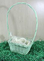 Корзина декоративная для цветов (лоза салатная,  прямоугольная)