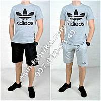 Модный летний комплект для мужчин ADIDAS серая футболка + черные шорты ADIDAS