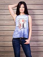 Легкая воздушная комбинированая женская футболка из хлопка без рукавов