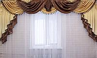 Ламбрекен из атласа ручной выкладки на карниз 3 метра №75 Коричневый, фото 1