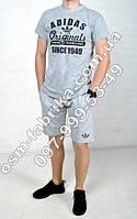 Прикольный мужской летний комплект ADIDAS Originals серая футболка + серые шорты ADIDAS