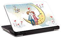 """Наклейка на ноутбук """"Влюбленные на луне"""", глянцевая/матовая, для всех моделей ноутбуков"""