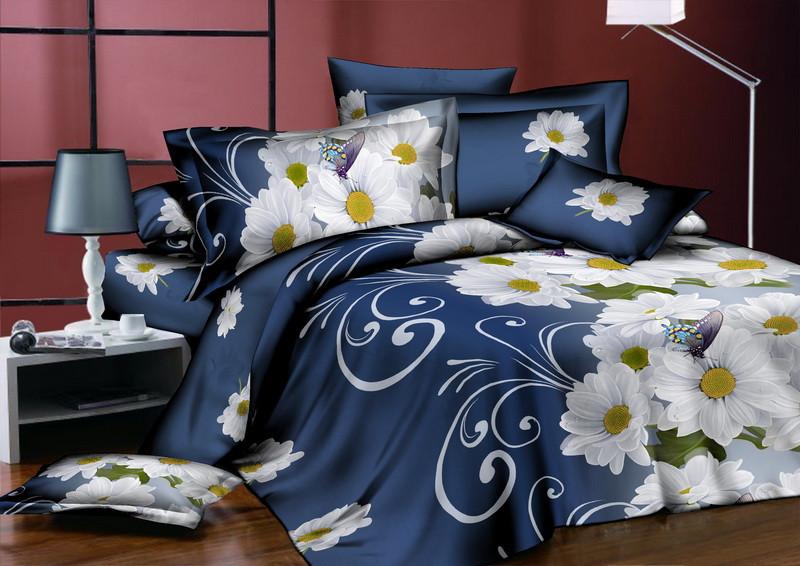 Семейный  комплект постельного белья Белая Ромашка