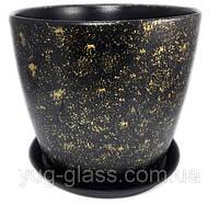 """Горшок цветочный лакированный """"Мрамор черный"""" 5л H=20cm D=22cm керамический."""