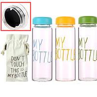 5х Бутылка My Bottle 500мл пластик прозрачная с дозатором + чехол