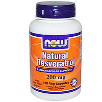 Now Foods, Натуральный ресвератрол, Мега сила, 200 мг, 120 капсул