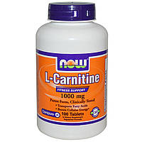 Now Foods, L-карнитин, 1000 мг, 100 таблеток