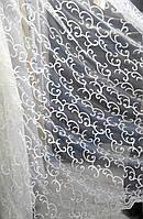 Тюль вышивка на микросетке Вензель кремовый