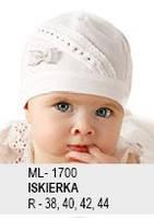 Красивая белая шапочка с бантиком для маленькой девочки от Marika Польша