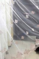 Тюль вышивка на микросетке Медальон пудра
