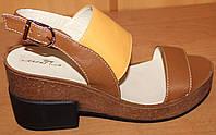 Женские босоножки кожаные на каблуке, кожаные босоножки от производителя модель ЛА33