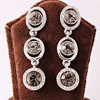 Сережки-гвоздики с графитовыми камнями