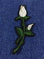 Нашивка Роза ветка с бутоном цвет белый