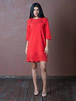 Красивое платье с перфорацией красное размер:44,46,48,50,52