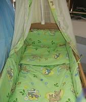"""Защита, мягкие бортики в детскую кроватку """"Дисней мультик"""" зеленая"""