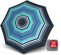 Надежный механический зонт Knirps T.010 Peru Sea UV Protection  Мех Kn9530108192, голубой с черный