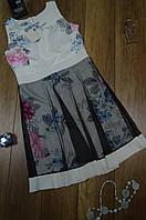 Женское короткое платье с юбкой  из фатина  с цветочным принтом Италия, фото 1