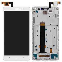 Дисплей (экран) для телефона Xiaomi Redmi Note 3 + Touchscreen with frame Original White