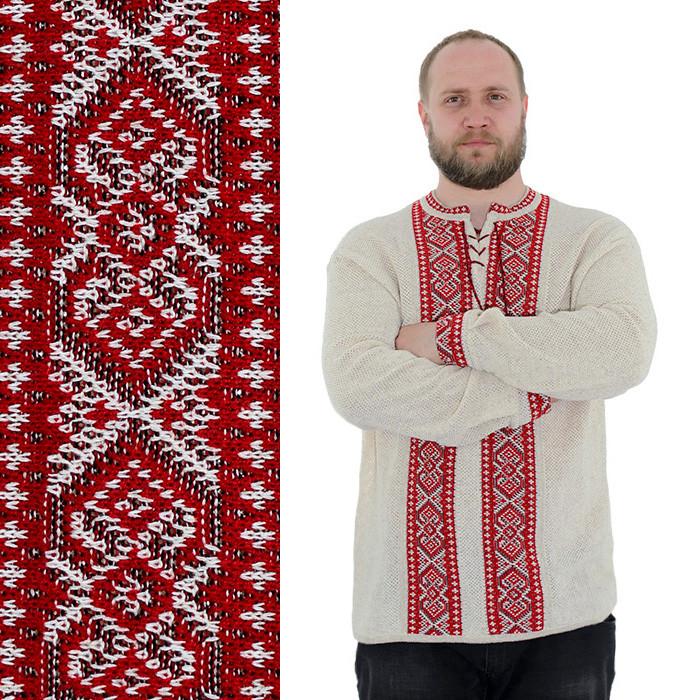 Льняной вязаный джемпер с красным орнаментом XXXL