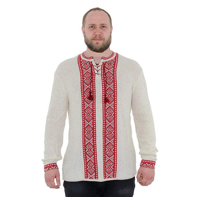 Льняной вязаный джемпер с красным орнаментом