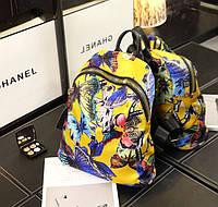 Стильный, яркий женский рюкзак /жёлтый с бабочками