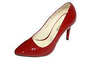 Туфли лаковые на высоком каблуке, красные, фото 1