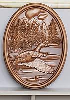 Резная Картина - Утки на Озере 400х300