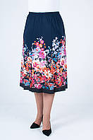 Летняя женская юбка годэ из ткани масло, купон №12 синего цвета (цветы)