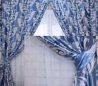 """Комплект готовых штор  блэкаут, """"Лилия"""". Цвет голубой 126ш (А)"""