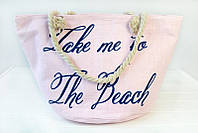 Нежно-розовая пляжная сумка