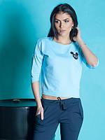 Спортивная женская кофта голубого цвета размер:42,44,46,48