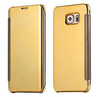 Золотистый зеркальный премиум чехол-книжка для Samsung Galaxy S7 Edge