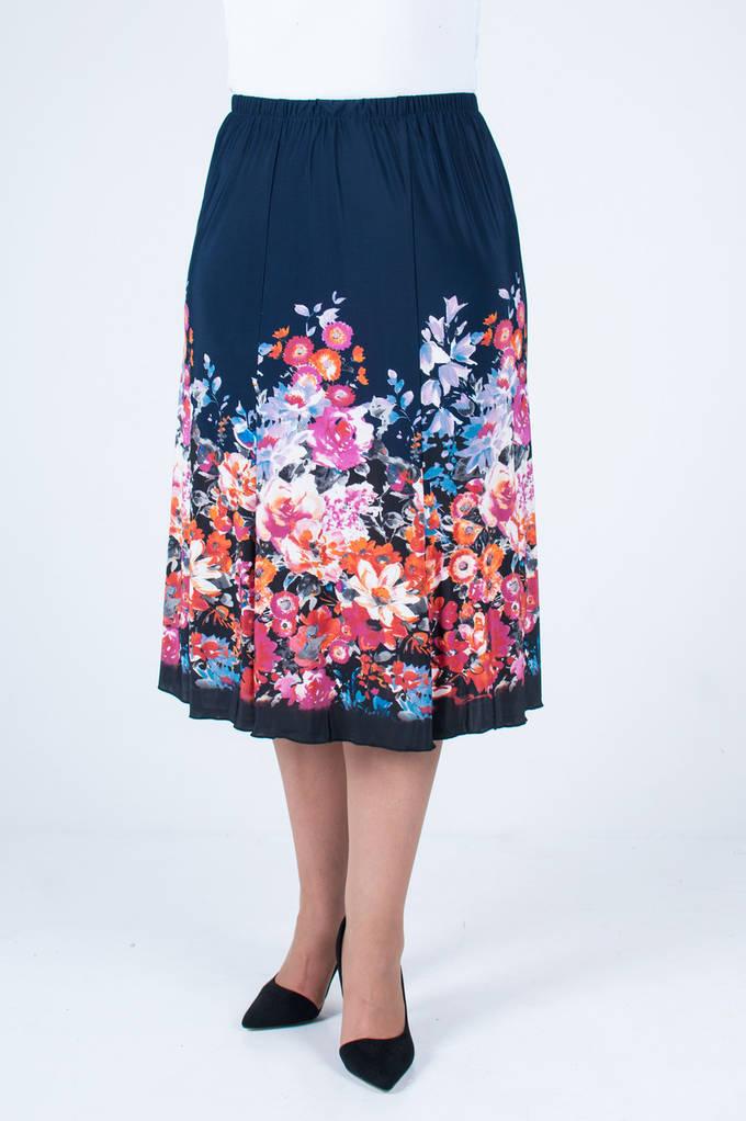 Женская летняя юбка Масло годе №12 синяя