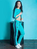 Стильный женский спортивный костюм бирюзового цета размер:42,44,46,48