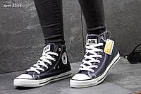 Женские высокие кеды Converse All Star темно синие / кеды женские Конверс / Конверсы темно синие, удобные