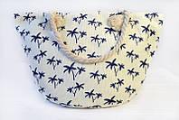 Пляжная сумка в молочном цвете с рисунком