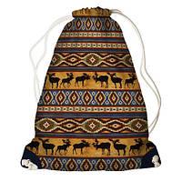 """Рюкзак мешок молодежный темно-синий с принтом """"Олени"""" ,магазин рюкзаков"""