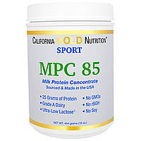 California Gold Nutrition, Sports, MPC 85, Pure Milk Protein Concentrate, Ultra-Low Lactose, 16 унций (454 г)