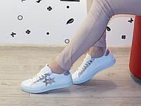 Кеды (кроссовки) белые с серебряной звездой