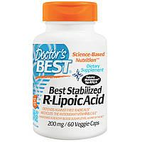 Doctor's Best, R-липоевая (тиоктовая) кислота, 200 мг, 60 вегетарианских капсул