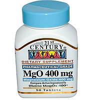 21st Century, MgO, Оксид магния, 400 мг, 90 таблеток