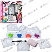 Набор для тату JX 20113, трафареты 6 шт, краски 4 цвета, кисточка, губка, временная татуировка, в коробке