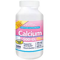 21st Century, Кальций 500 + D3 плюс экстра D3, 400 капсуловидных таблеток